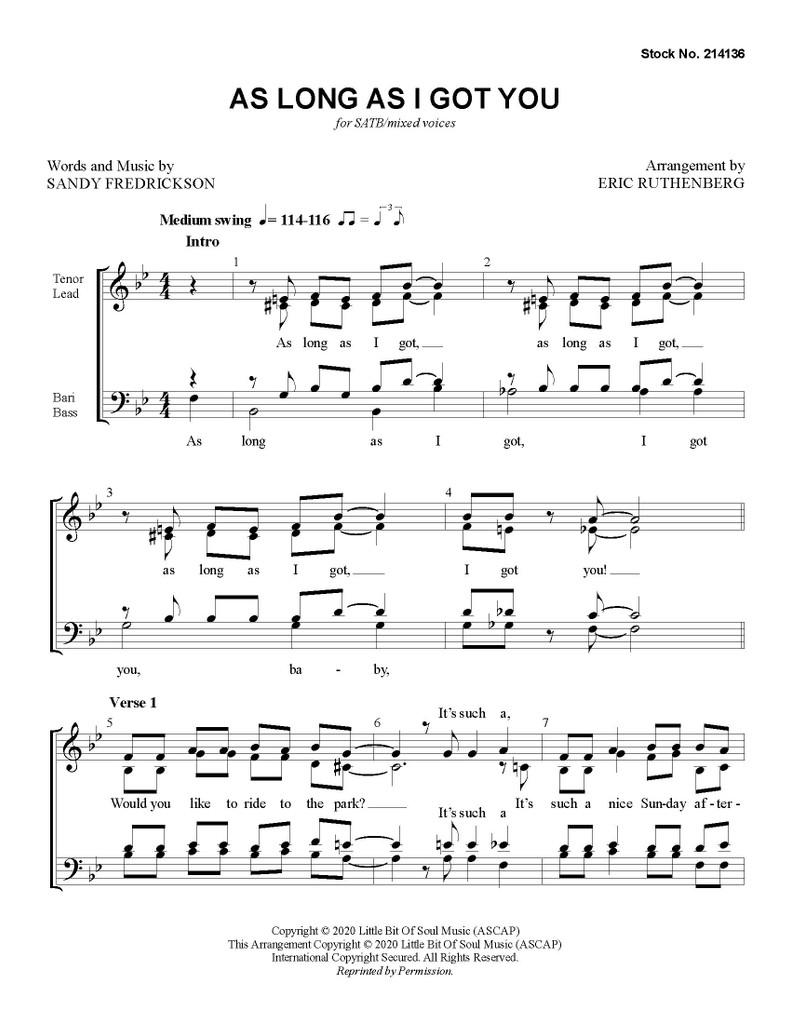 As Long as I Got You (SATB) (arr. Ruthenberg) - Download