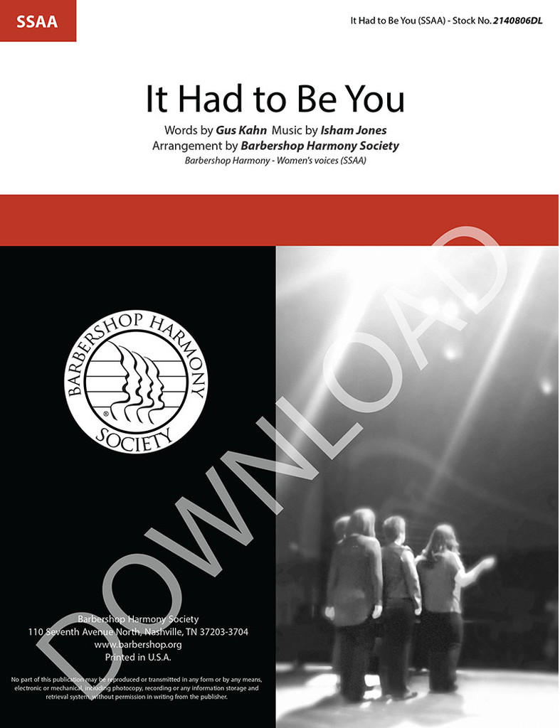 It Had to Be You (SSAA) (arr. BHS) (arr. BHS) - Download