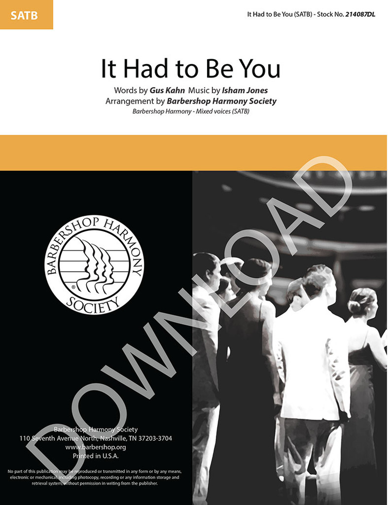 It Had to Be You (SATB) (arr. BHS) (arr. BHS) (arr. BHS) - Download