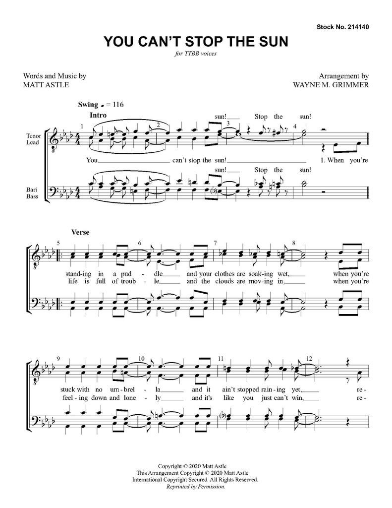 You Can't Stop the Sun (TTBB) (arr. Grimmer)