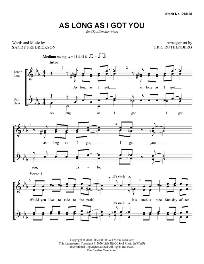 As Long as I Got You (SSAA) (arr. Ruthenberg) - Download