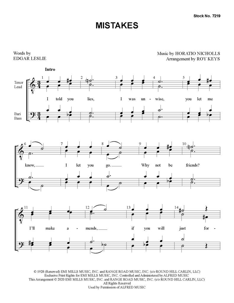 Mistakes (TTBB) (arr. Keys) - Download