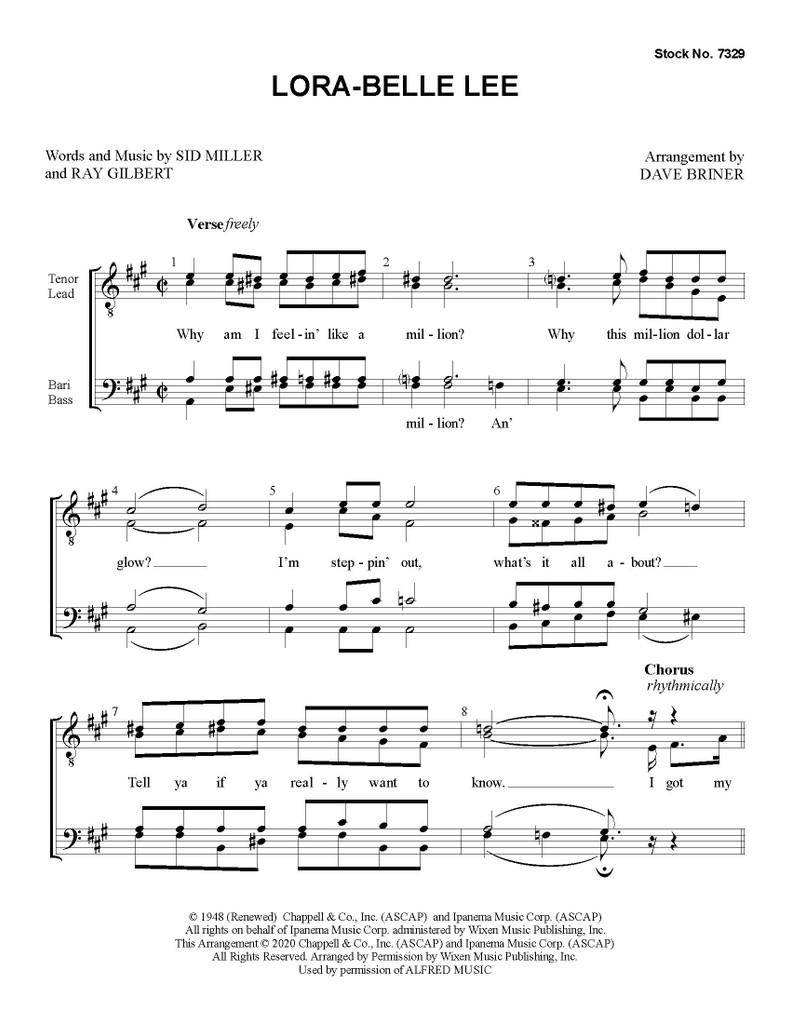 """Lora-Belle Lee (aka """"Lorabelle Lee"""") (TTBB) (arr. Briner) - Download"""