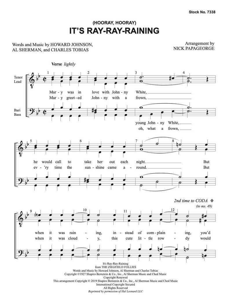 Copy of It's Ray-Ray- Raining (TTBB) (arr. Papageorge) - Download