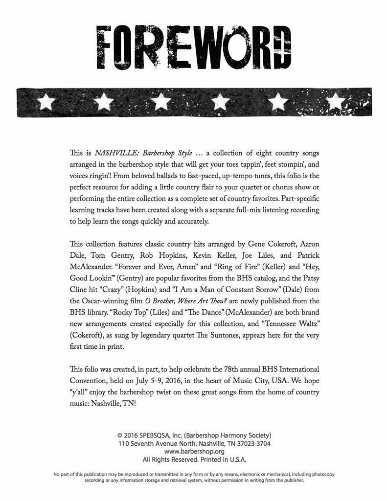 Nashville Barbershop Style - Songbook - Download