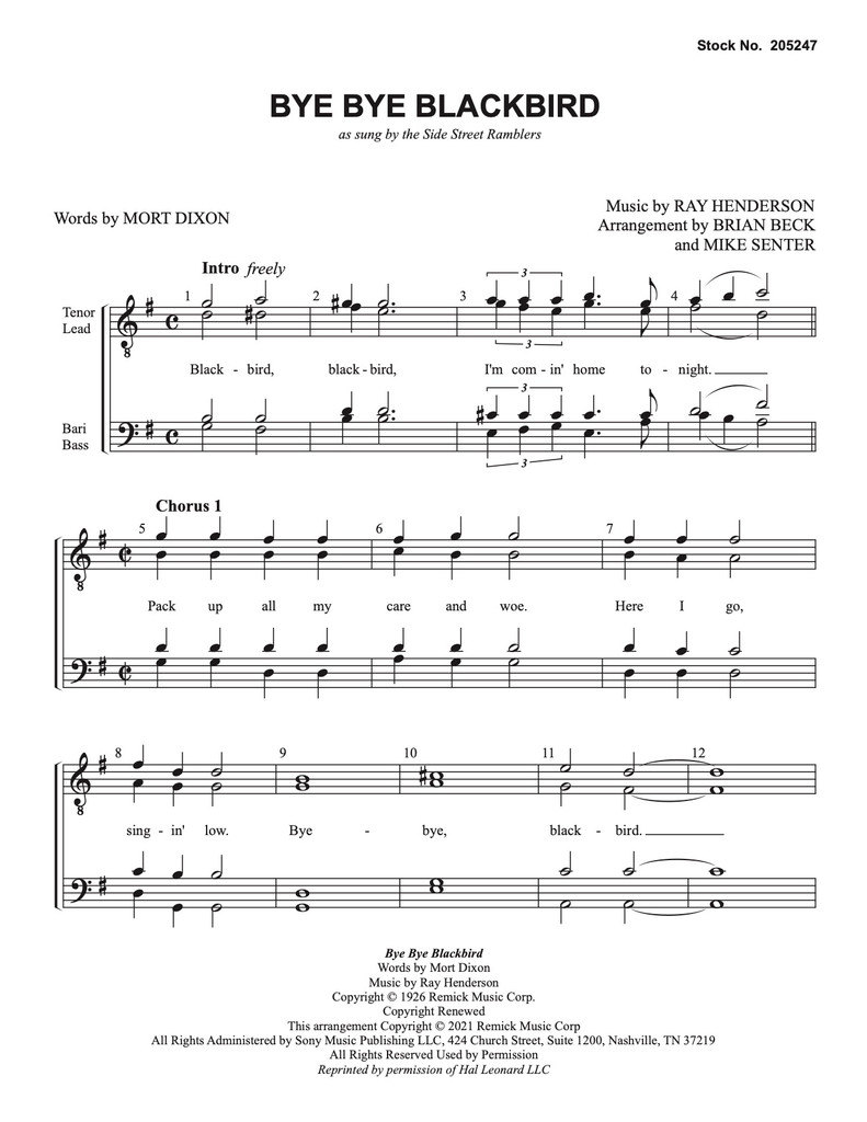 Bye Bye Blackbird (TTBB) (arr. Beck/Senter) - Download