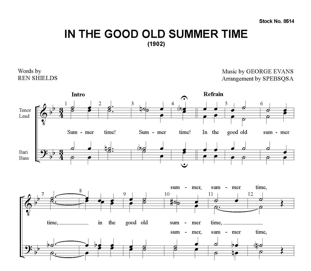 In the Good Old Summer Time (TTBB) - arr. SPEBSQSA - Download