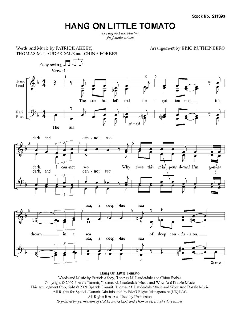 Hang on Little Tomato (SSAA) (arr. Ruthenberg) - Download