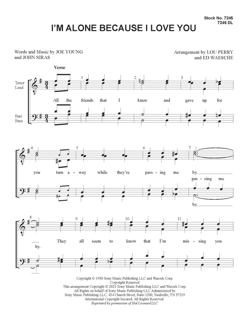 I'm Alone Because I Love You (TTBB) (arr. Perry/Waesche) - Download