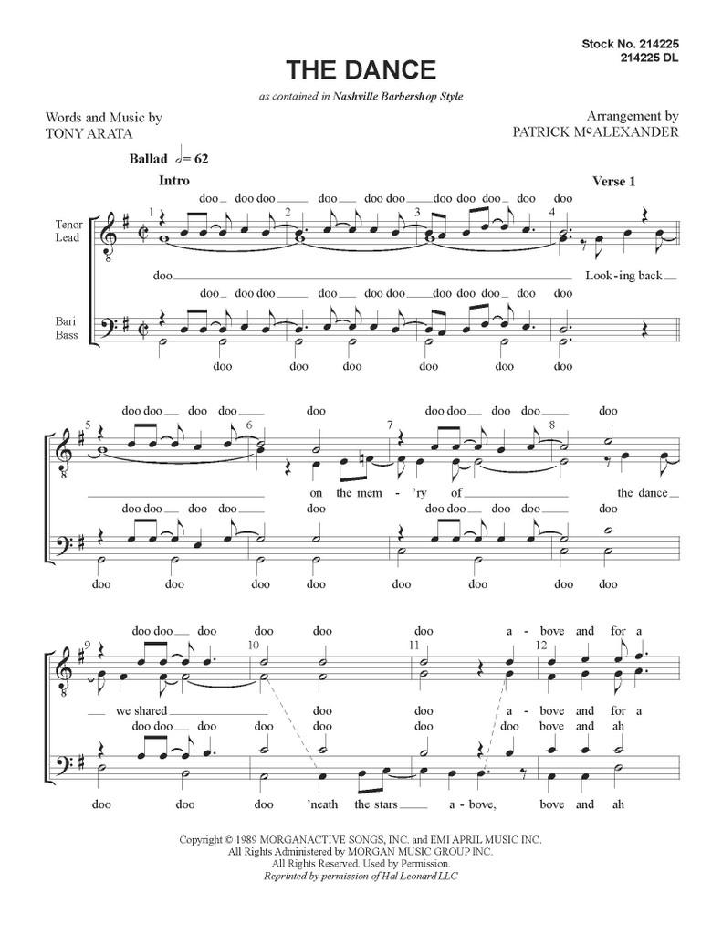 The Dance (TTBB) - arr. Patrick McAlexander - Download