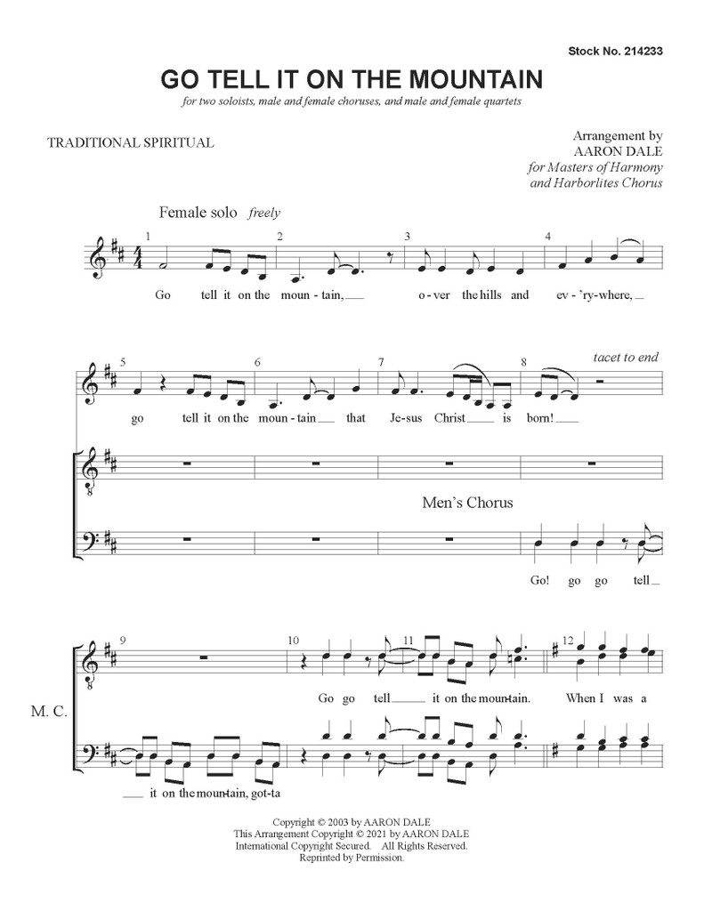 Go Tell It On the Mountain (SATB + Soloists) - arr. Aaron Dale - Download