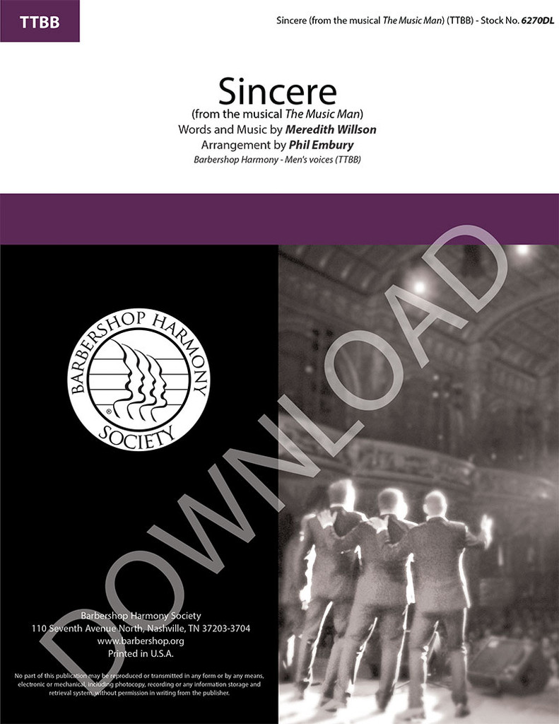 """Sincere (from """"The Music Man"""") (TTBB) (arr. Embury) - Download"""