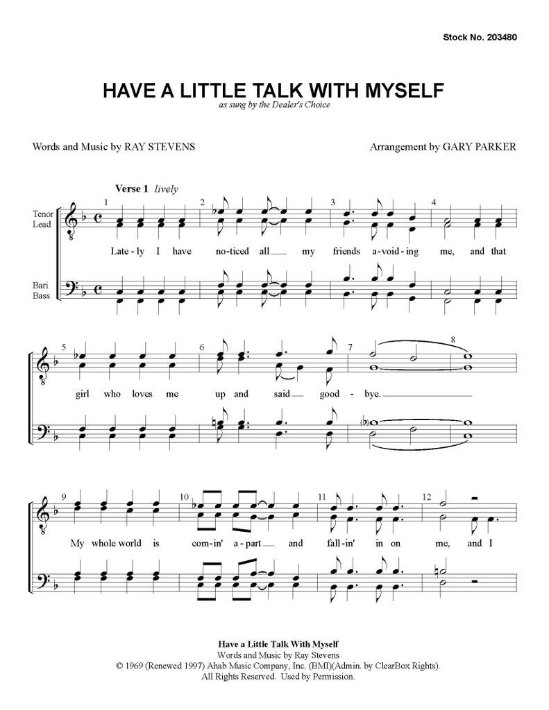 Have a Little Talk with Myself (TTBB) (arr. Parker) - Download
