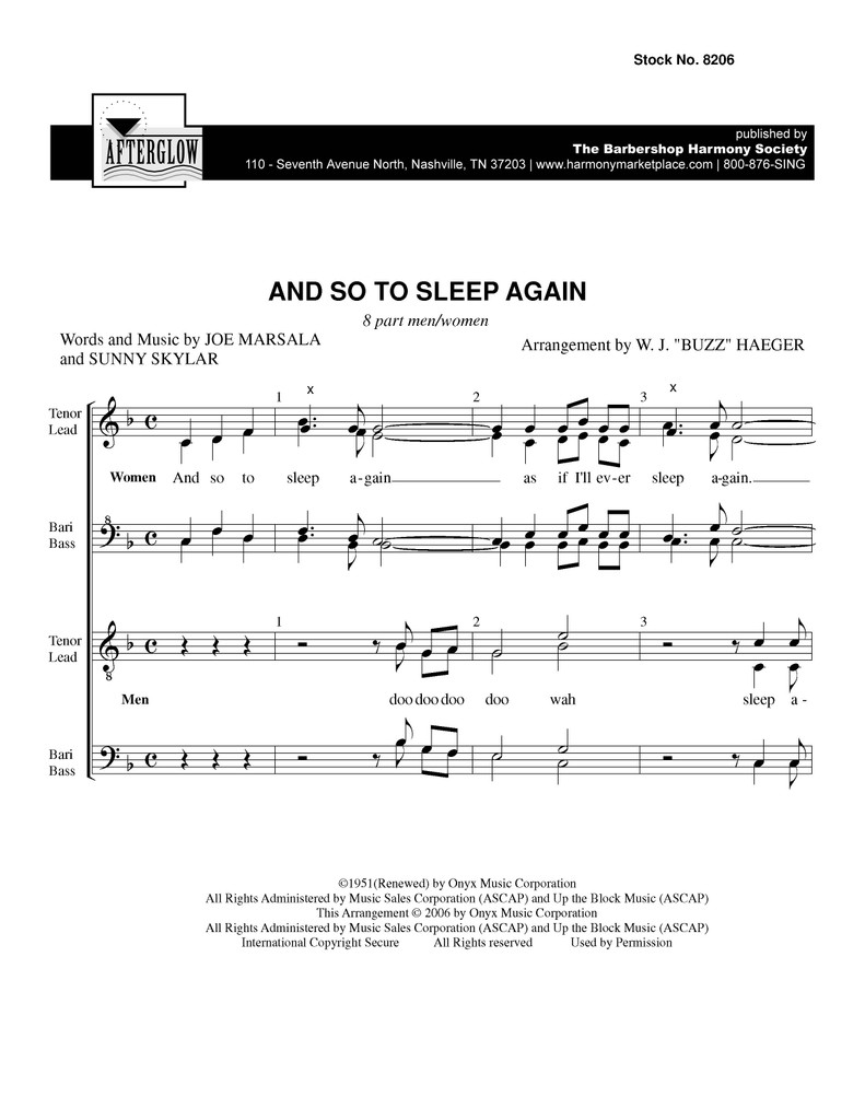 And So To Sleep Again (SATB 8-Part) - arr. Buzz Haeger - SPECIAL ORDER