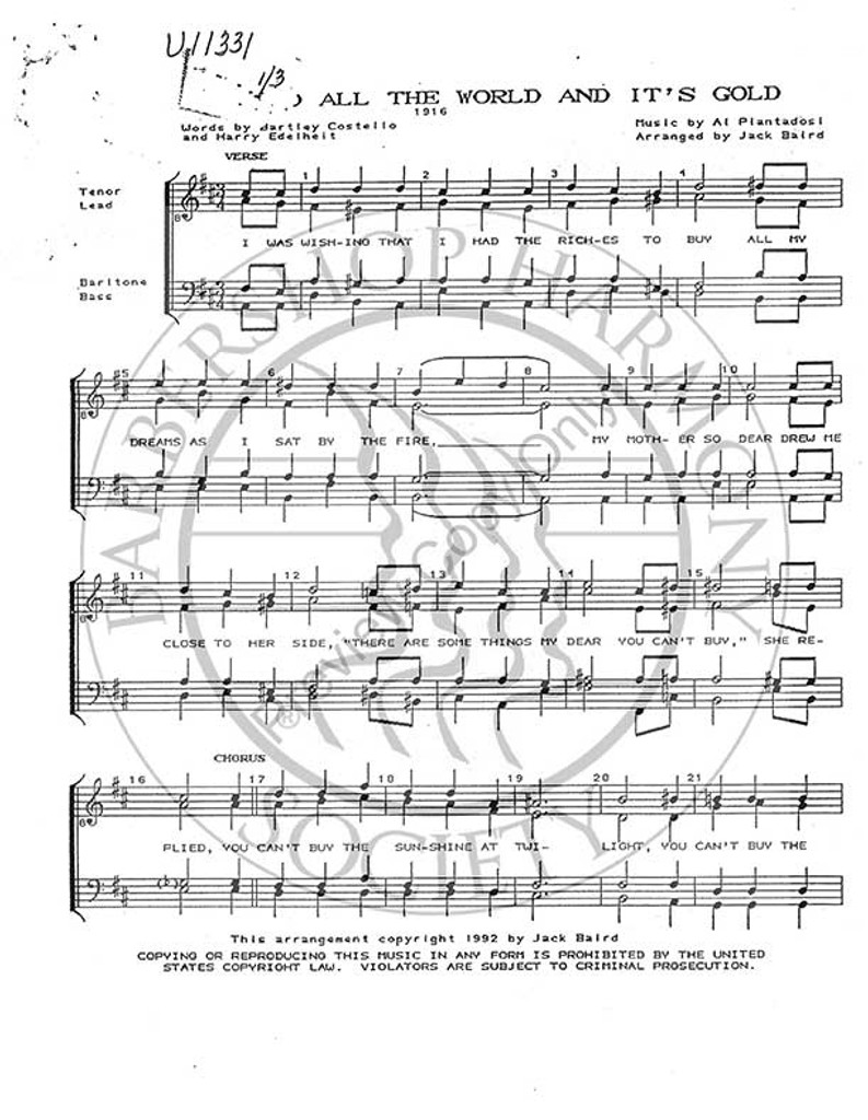 If You Had All The World And Its Gold (TTBB) (arr. Jack Baird)-UNPUB