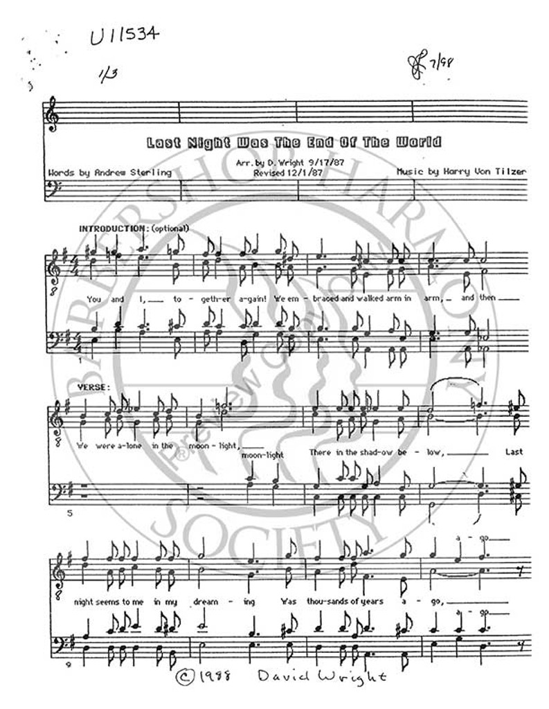 Last Night Was The End Of The World (TTBB) (arr. David Wright)-UNPUB