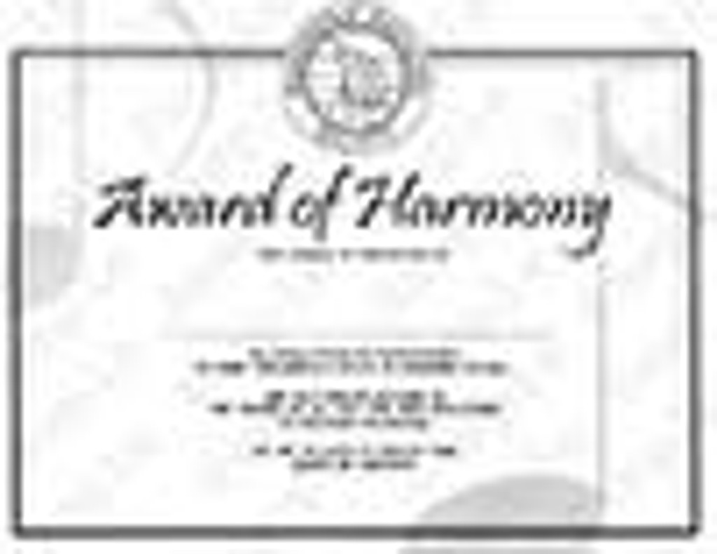 Award of Harmony Certificate