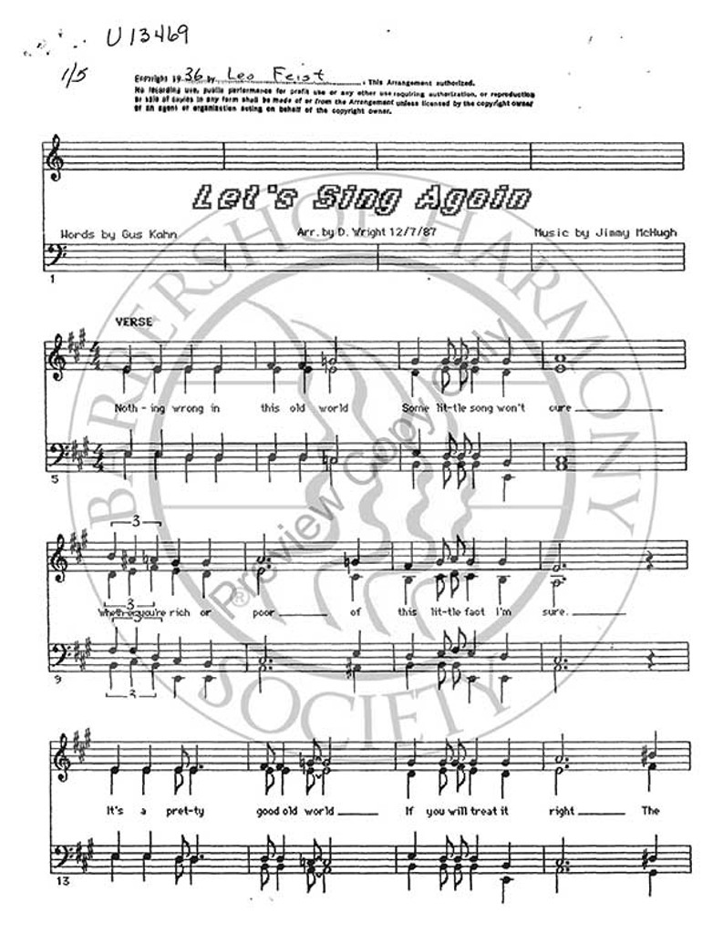 Let's Sing Again (SSAA) (arr. David Wright)-UNPUB