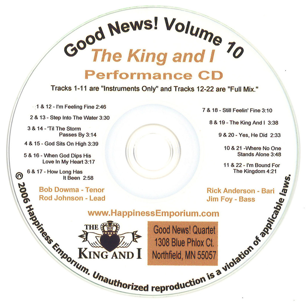 Good News Gospel Learning CD #10 The King and I Performance CD Full Mix and Instruments Only