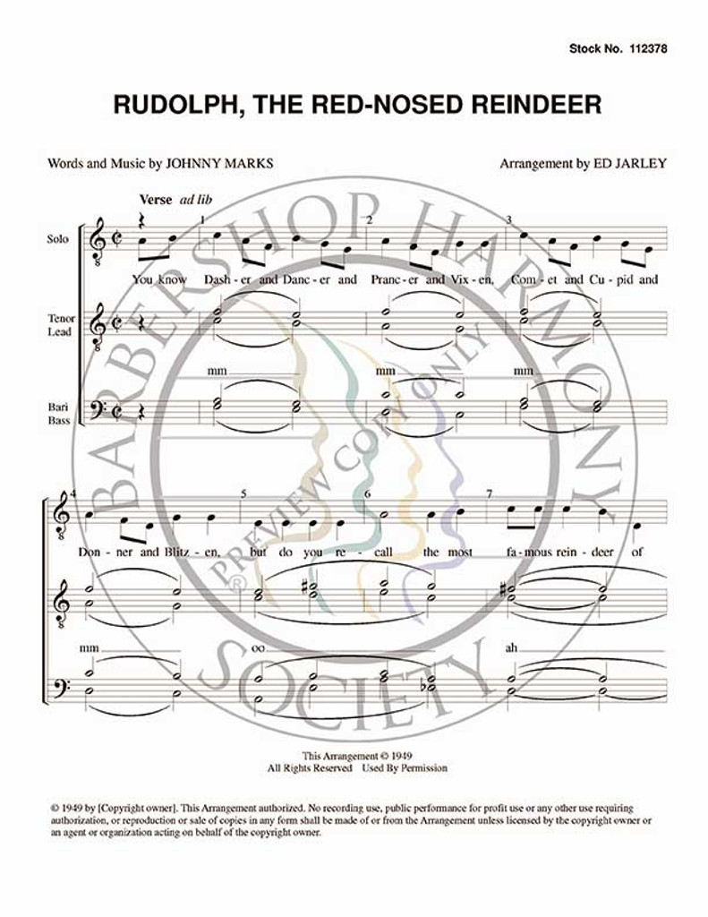 photograph about Words to Rudolph the Red Nosed Reindeer Printable identify Rudolph The Pink Nosed Reindeer 1 (TTBB) (arr. Ed Jarley)-UNPUB