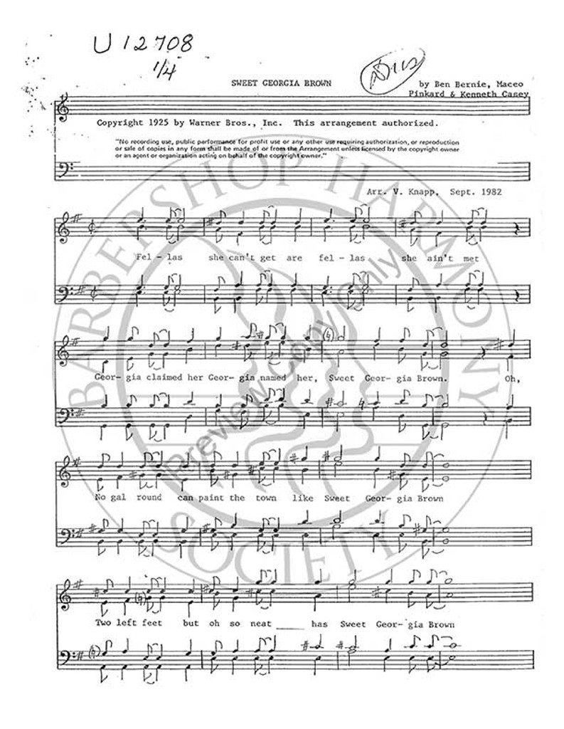 Sweet Georgia Brown 3 (TTBB) (arr. Vern Knapp)-UNPUB