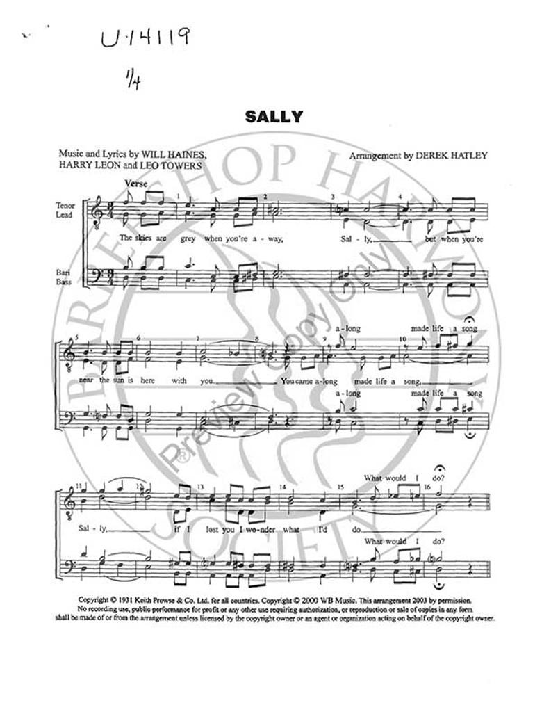 Sally (TTBB) (arr. Derek Hatley)-UNPUB