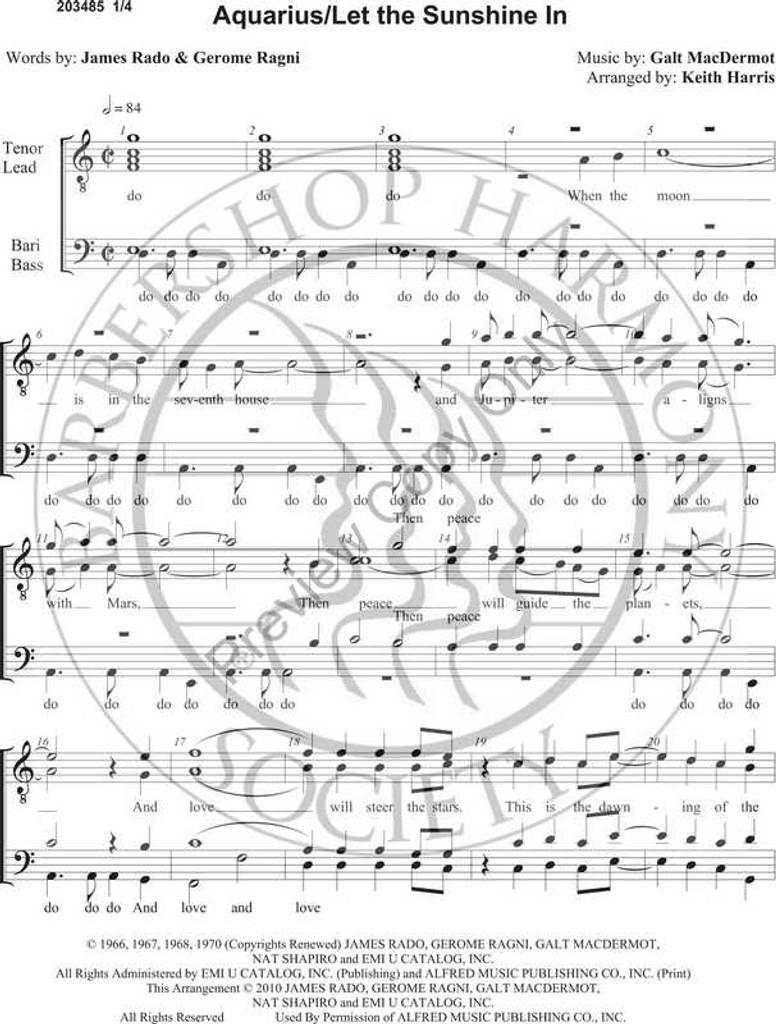 Aquarius/Let The Sunshine Medley (TTBB) (arr. Keith Harris)-UNPUB