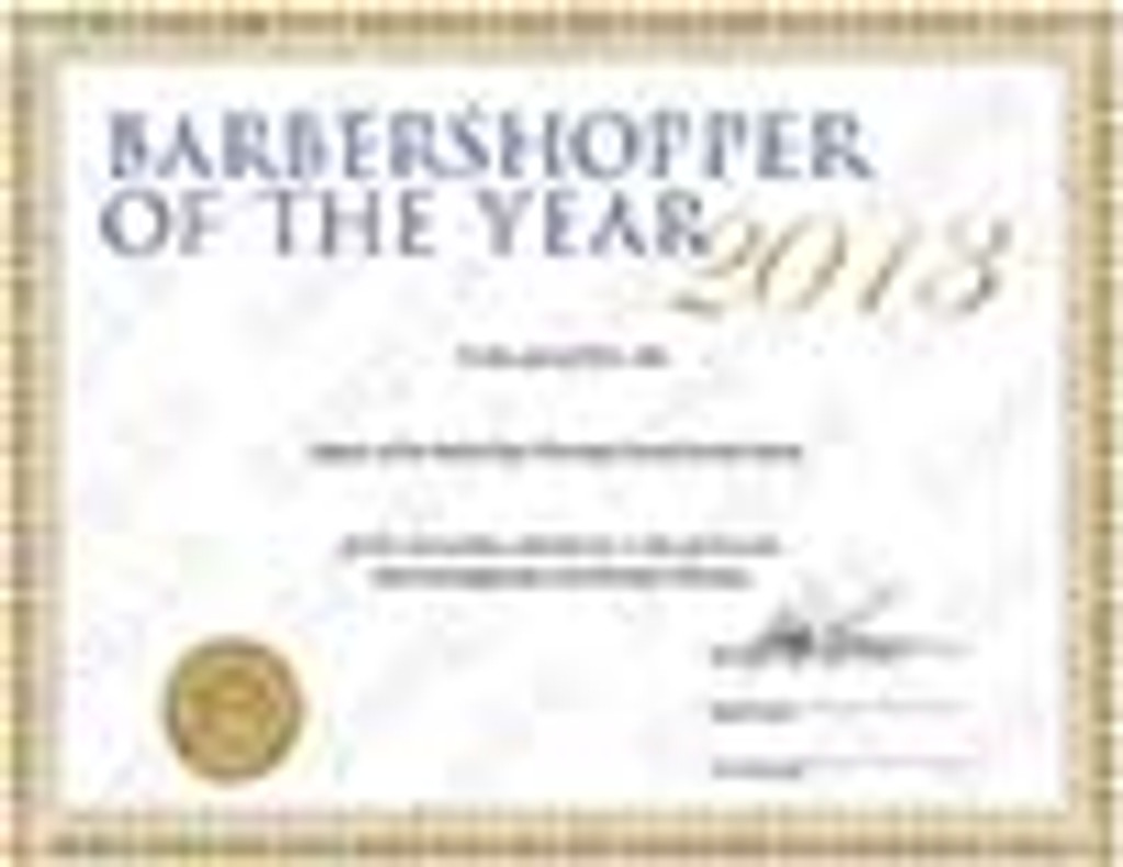 Barbershopper of the Year Award (BOTY) Certificate