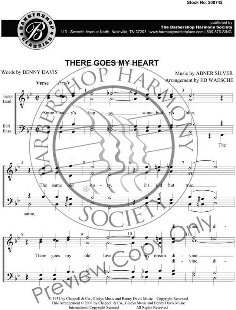 There Goes My Heart (TTBB) (arr. Waesche) - SPECIAL ORDER