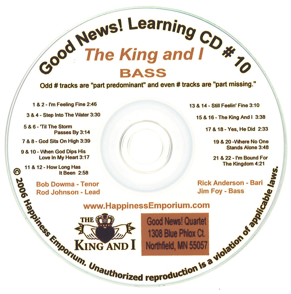 Good News Gospel Learning CD #10 The King and I Bass