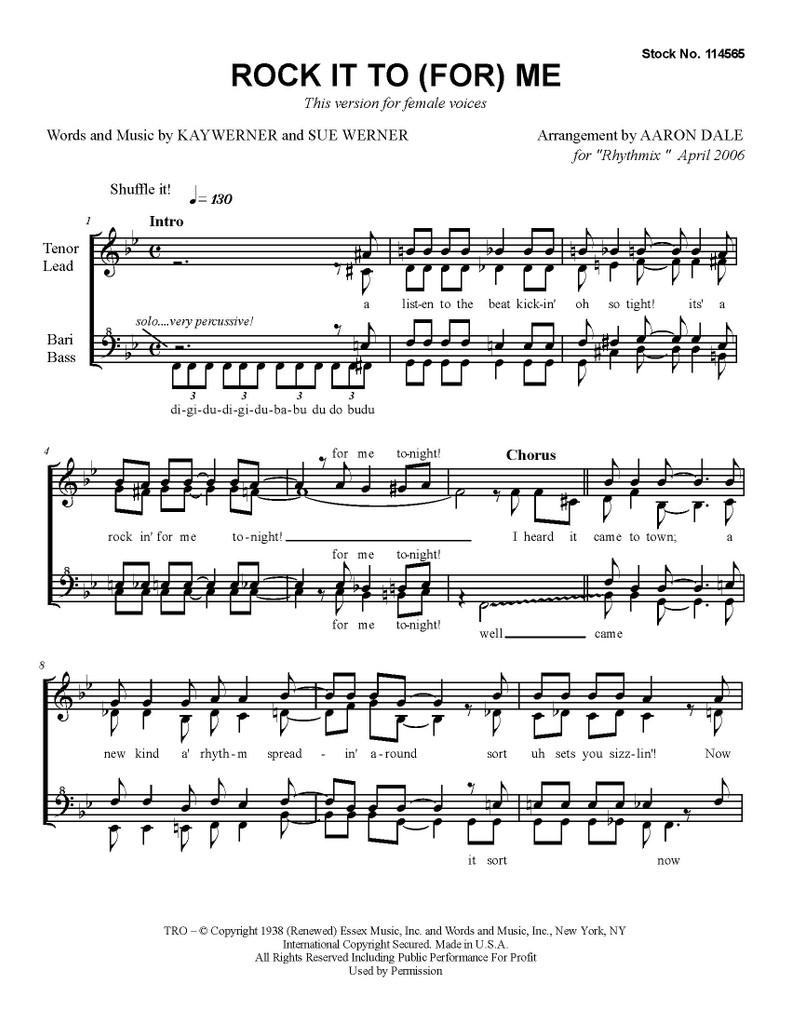 Rock It For Me (SSAA) (arr. Aaron Dale)-UNPUB