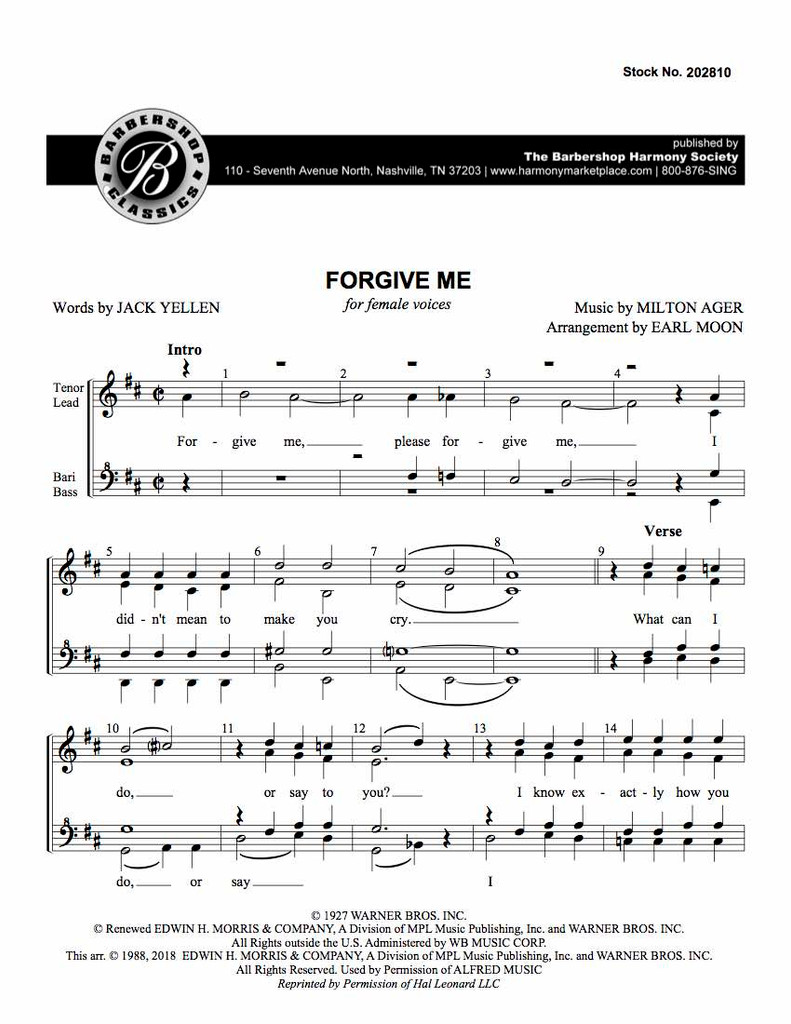Forgive Me (SSAA) (arr. Moon)