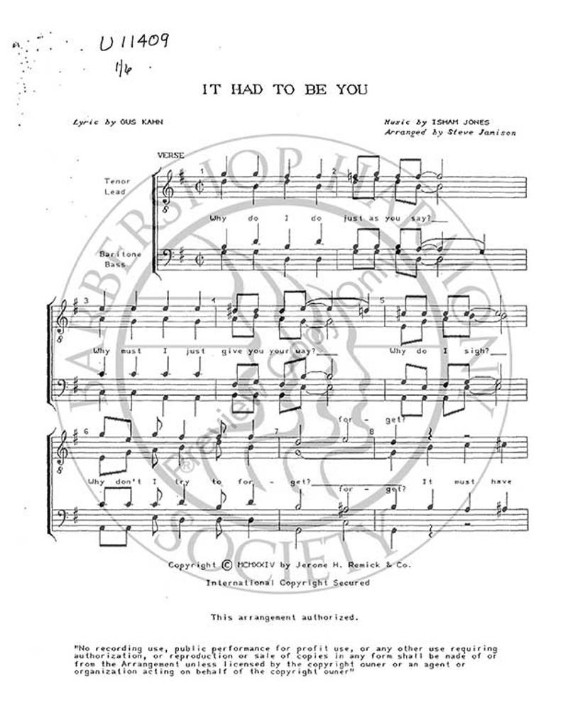 It Had To Be You 7 (TTBB) (arr. Stephen Jamison)-UNPUB