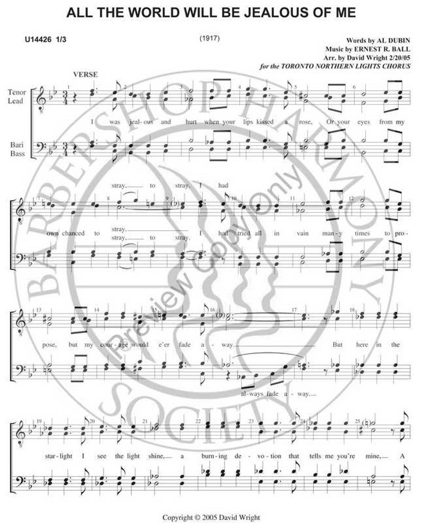 All The World Will Be Jealous of Me 2 (TTBB) (arr. David Wright)-UNPUB