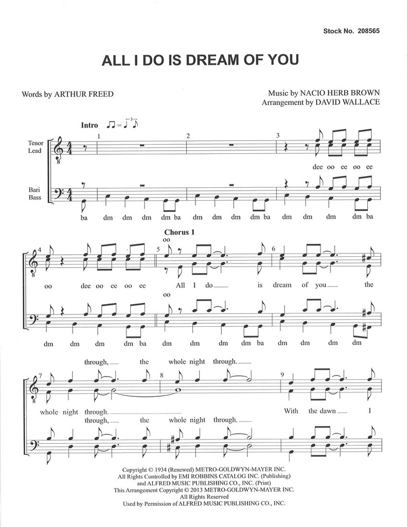All I Do Is Dream of You (TTBB) (arr. Wallace)