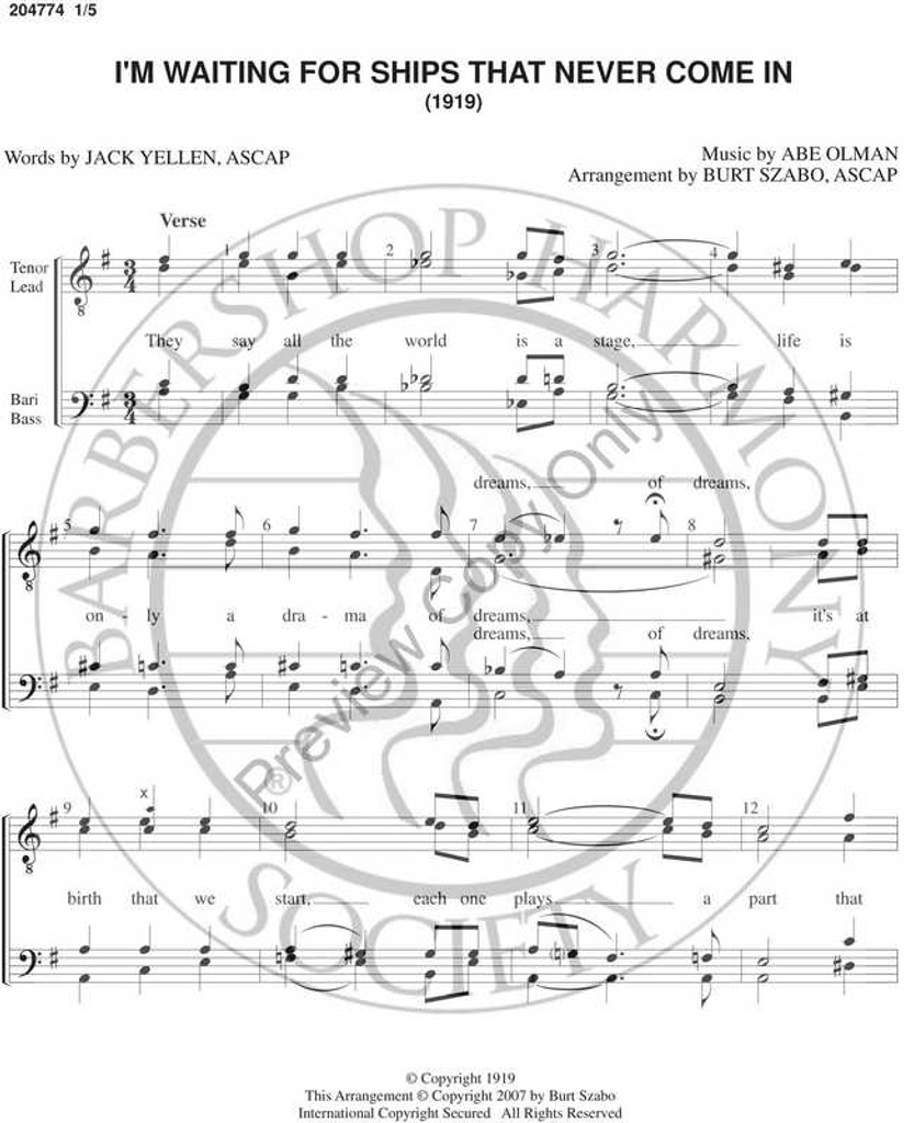 I'm Waiting For Ships That Never Come In (TTBB) (arr. Burt Szabo)-UNPUB