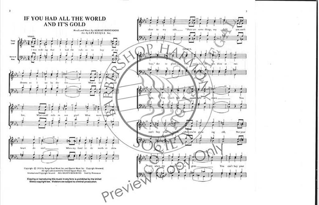 If You Had All The World And It's Gold (TTBB) (arr. SPEBSQSA)