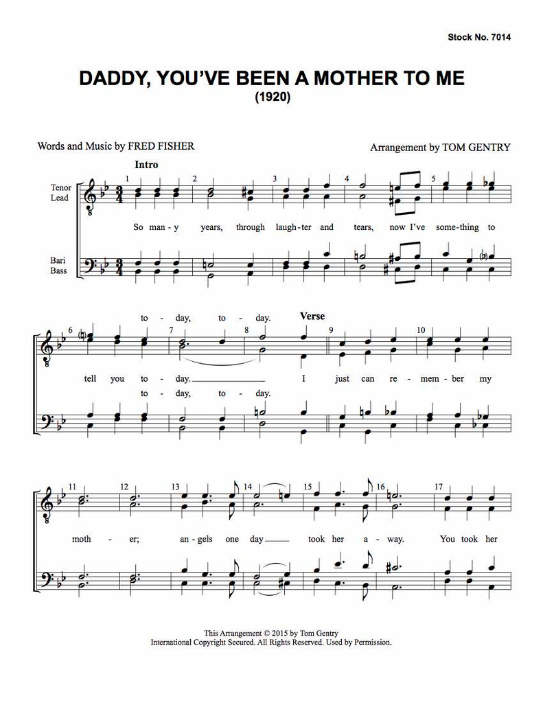 Daddy You've Been a Mother to Me (TTBB) (arr. Gentry)