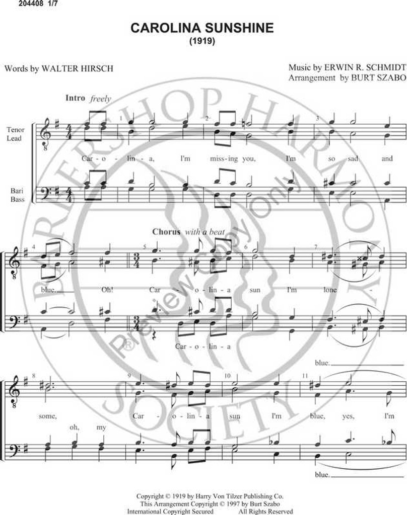 Carolina Sunshine (TTBB) (arr. Burt Szabo)-UNPUB