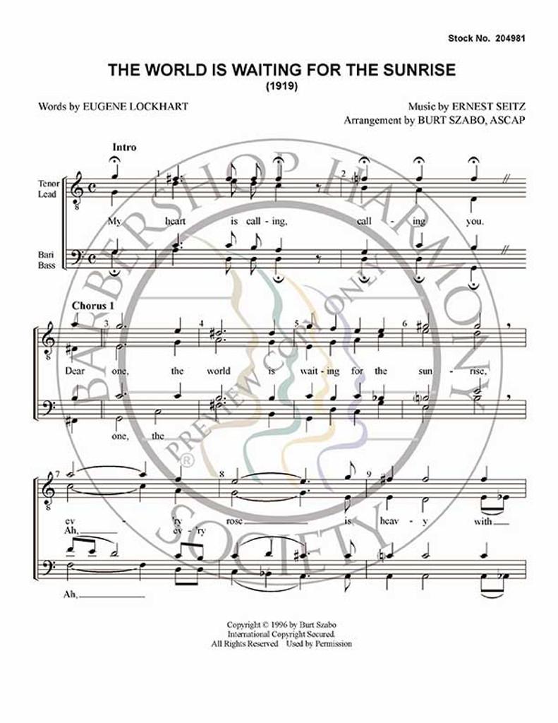 The World Is Waiting For The Sunrise (TTBB) (arr. Burt Szabo)-UNPUB