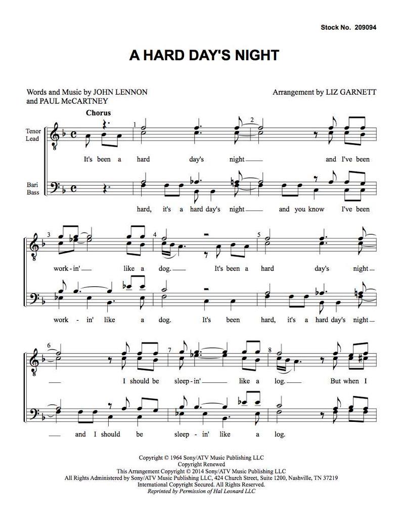 A Hard Day's Night (TTBB) (arr. Garnett)