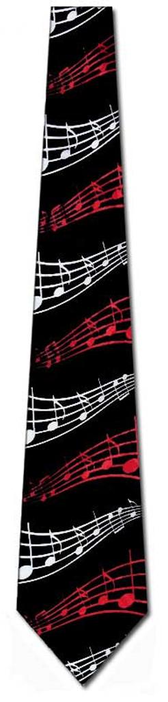 Tie - Black with Red/White Wavy Staff