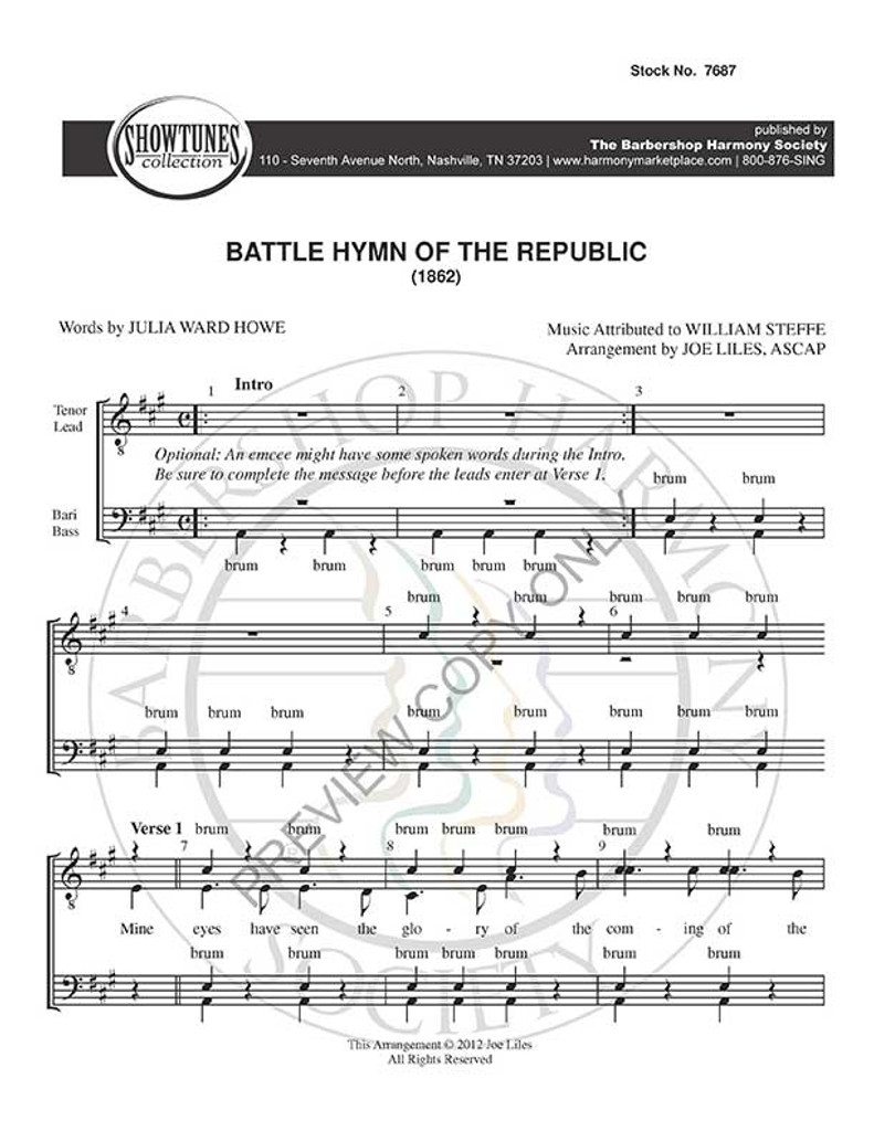 Battle Hymn Of The Republic (TTBB) (arr. Liles)