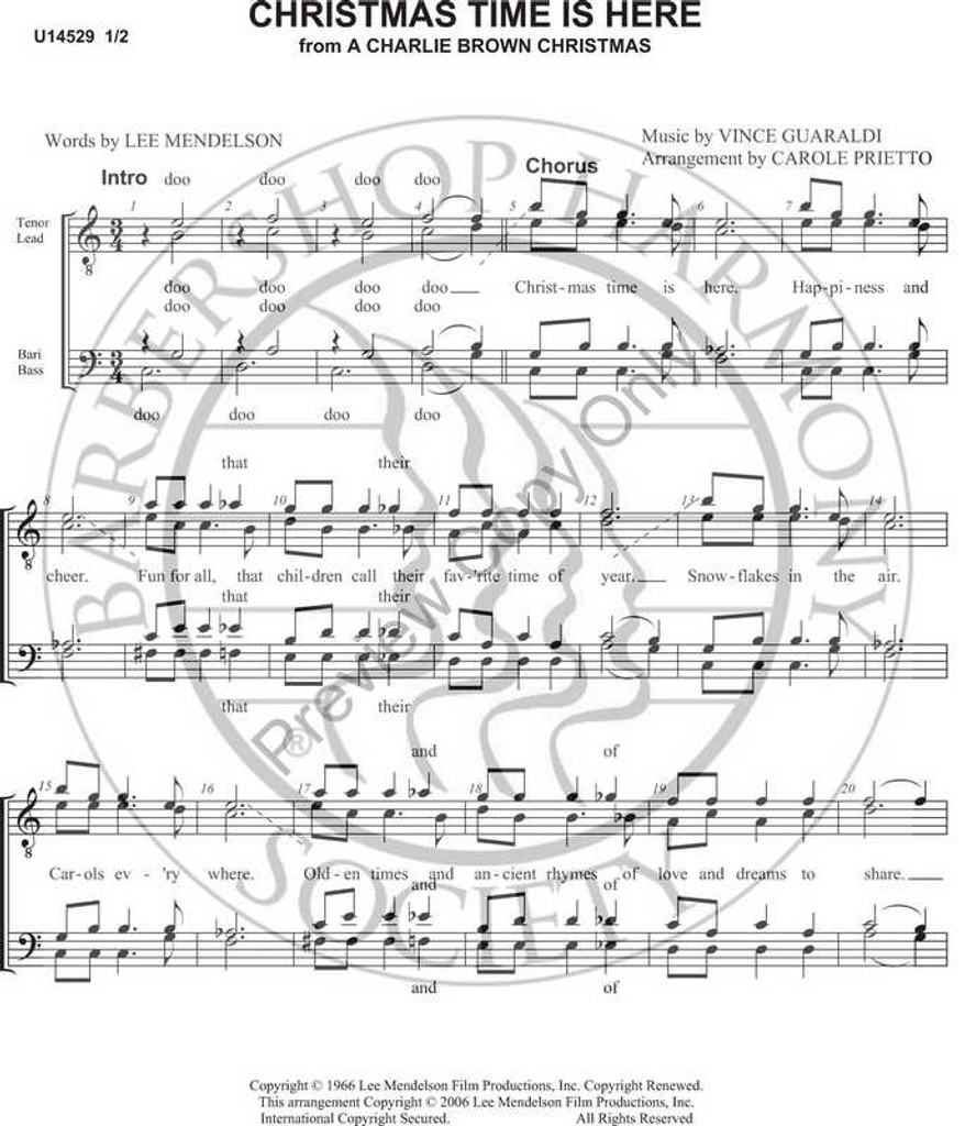 Christmas Time Is Here 1 (TTBB) (arr. Carole Prietto)-UNPUB