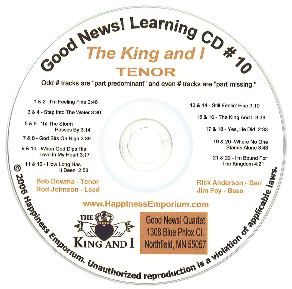 Good News Gospel Learning CD #10 The King and I Tenor