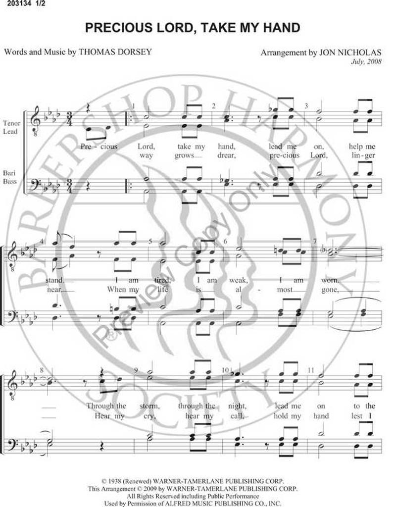 Precious Lord Take My Hand (TTBB) (arr. Jon Nicholas)-UNPUB