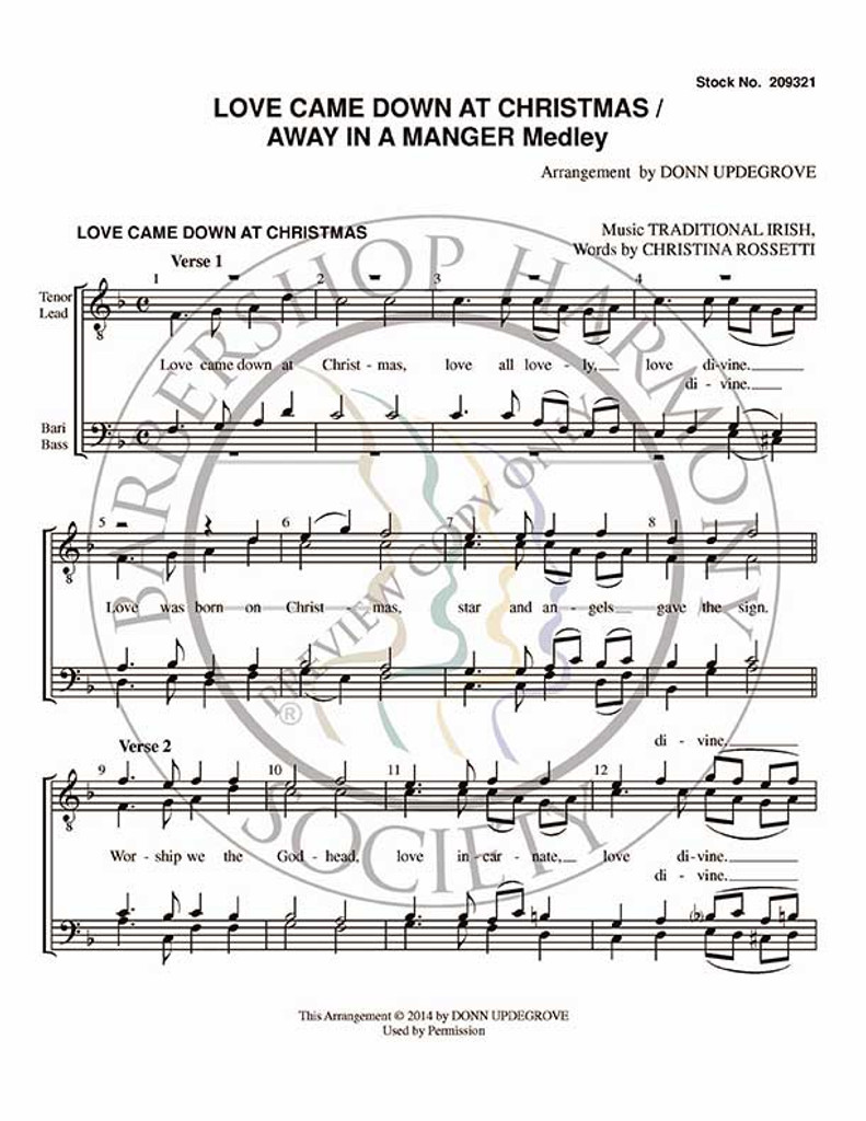 picture regarding Lyrics to Away in a Manger Printable identified as Appreciate Arrived Down At Xmas/Absent Within just A Manger (Medley) (TTBB) (arr. Donn Updegrove)-UNPUB