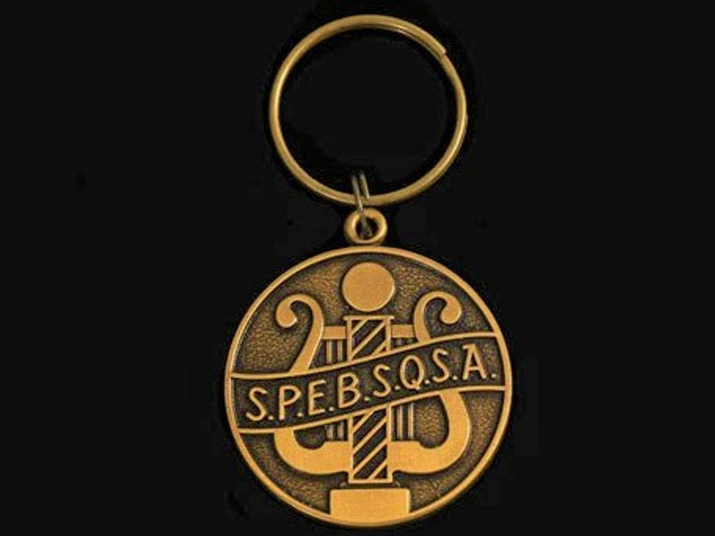 Old S.P.E.B.S.Q.S.A. Logo Bronze Keychain.  This keychain is made with the old SPEBSQSA Society logo as a happy nostalgic reminder of what BHS is here to offer.   It's easy to carry, special to the heart, and great to look at.