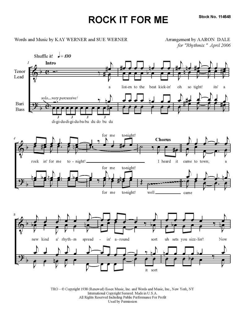 Rock It For Me 1 (TTBB) (arr. Aaron Dale)-UNPUB