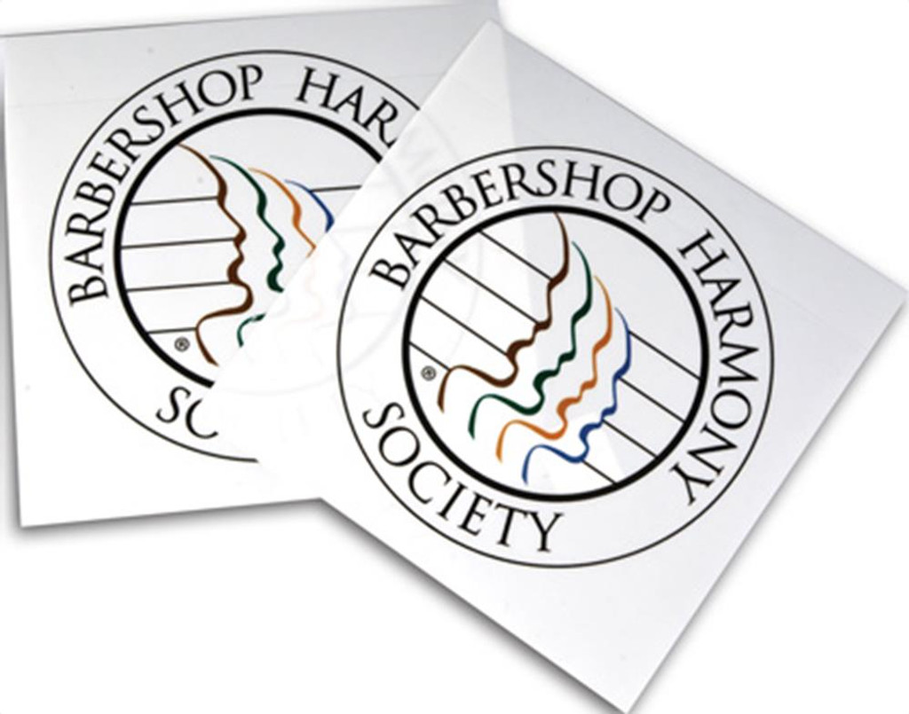 "White window cling sticker with colored society seal that can be placed on the inside of your car, home, office, or rehearsal space window.  It is vibrant with color and easily stands out.   Note:  Sticker works best on clear, untinted windows.   Dimensions: 2 1/2"" round."